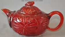 china Manmade Amber Resin Carve Lotus leaf frog toad statue Wine Tea Pot Flagon