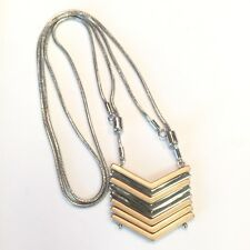 Mixed Metal Snake Chain Long Adjustable  Necklace Stacked Arrow Pendant Silver