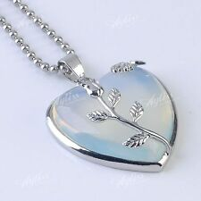 1PC Opal Gemstone Alloy Flower Pendant Heart Love Inlaid Charm for Necklace DIY