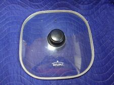 "RIVAL 11"" Glass Vented Square Lid Tempered for Electric Skillet Clear Stainless"