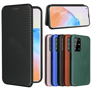 For Cubot X30 / Cubot Note 7 Magnetic Carbon Fiber Wallet Leather Card Slot Case