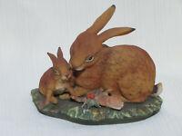 Vintage Homco Home Interior Masterpiece Porcelain Bunnies Figurine (E5)