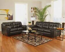 Modern Living Room Furniture Brown Bonded Leather Sofa Couch & Loveseat Set IG08