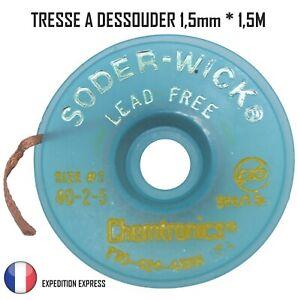 Tresse à dessouder de précision 1,5mmx1,5m pompe fer fil à souder étain soudure