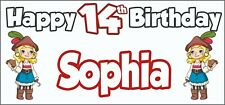 Girl Pirate 14th Birthday Banner x 2 - Party Decorations - Personalised ANY NAME
