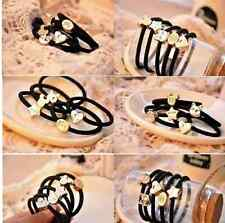 5 x Black Elastic Hair Band Ponytail Holder With Gold Colour Pendant