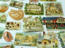 Lot of Victorian Die-Cut Cottages Churches Winter Snow Painters' Pallets CT81