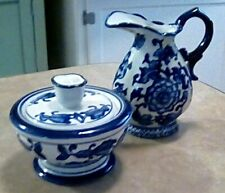 The Bombay Co. Ceramic Blue Floral Sugar and Creamer set