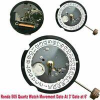 Für Ronda 505 Quartz Bewegung Date At 3' Date at 6' Watch Uhrwerke Repair Parts
