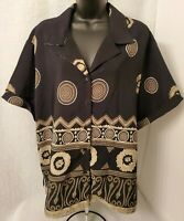 Entourage Womens Black Brown White Design Button Down Shirt Top Blouse Size 2X