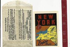 Vintage water decal New York the Empire State Lindgren -Turner Co. FREE SHIPPING