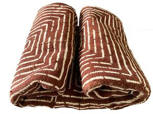 """Superb Brown  & White  African Bogolan Mud Cloth Textile 40.5 """" by 64 """""""