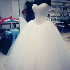 A-line White/ivory Wedding Dress Bling Sparkly Bridal Ball Gown Custom Size 4-26