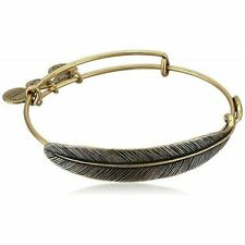 """New Alex and Ani Earth Sultry """"Quill Feather"""" Rafaelian Gold Finish Bracelet"""