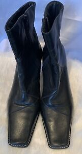 Kaliko Women Black Leather Heeled Ankle Boots 8D