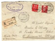 ITALY Cover Turin Registered *Pilonetto* USA Massachusetts Somerville 1934 FC103