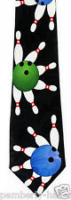 New Bowl A Rama Mens Necktie Bowling Game Ball Pins Alley Sports Black Neck Tie
