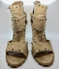 LAURENCE DACADE PARIS Tan Leather Studded Open Toe Ankle Bootie Size 39.5