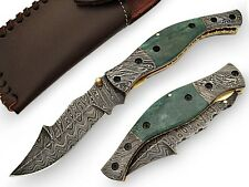 Handmade Folding Knife Damascus Steel Blade and Bolster Camel Bone & Sheath