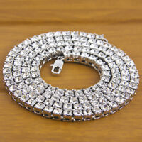Hip Hop Fashion Men's Choker Single Row Simulated Diamond Tennis Chain Necklace
