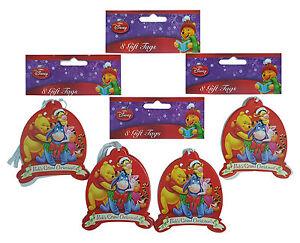 DISNEY 4 x Packs Of 8 Winnie The Pooh Grand Christmas Gift Tags 8.5cm x 7.5cm