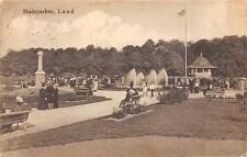 Sweden Stadsparken, Lund, fountain, animated Park 1916