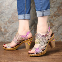 SOCOFY Women Summer Gradient Color Genuine Leather Shoes Veins Opened