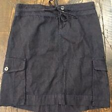 Ann Taylor LOFT Womens 0 Blue Denim Drawstring 100% Cotton 2 Pocket Skirt