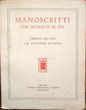 1929 – MANOSCRITTI DAL SECOLO IX AL XVI. VENDITA ALL'ASTA – CODICI BIBLIOFILIA