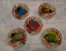 Two's Company Exotic Fish Decorative Glass Plates Set of 5