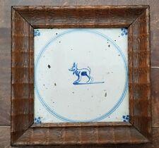 Antique Dutch Delft Blue White Dog / Animal Circle Tile 17th C Spider Corners