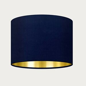 Navy Blue Velvet Fabric Drum Lampshade with Brushed Gold Light Shade