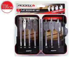 8 pc Wooden Case 7770441 3//8-to-1 Inch Denzel Spade Bit Set