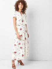 efcf0996485 Gap Floral Short Sleeve Maxi Dress in White Floral Print NWT  79 S