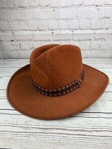 Vintage Artel Western Cowboy Hat Suede Brown Banded Cap Size 7 1/4 NEW K2