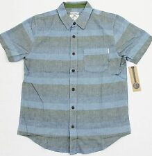 O'NEILL Men's Blue/Gray Stripe Cotton SS Button-Front Pocket Shirt (S) NWT $55