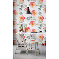 Removable wallpaper Spring Flower Floral Wall Covering Watercolor Home Decor