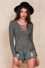 Cotton V Neck Long Sleeve Petite Tops & Shirts for Women
