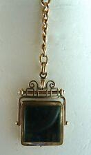 Antique Mid-Victorian GOLD F DoubleSided Spinner Fob/Locket w/Jasper & Photo