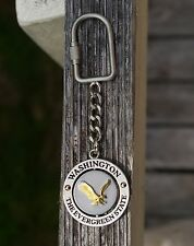 Washington The Evergreen State Metal Spinner Spinning Keychain Keyring Eagle