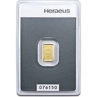 Lingot or 1 gramme or pur 24 carats 999,9/1000 Heraeus gold bar 1 gr