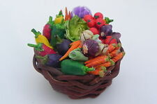 Dollhouse Miniature Straw Basket filled Hand Painted Vegetables Food Market