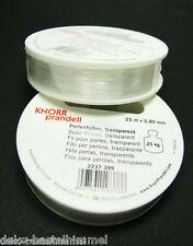 25 m Perlonfaden, transparent, 0,8 mm, Perlenfaden für Schmuck und basteln,