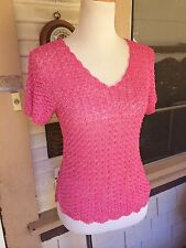 VINTAGE 1970s SLINKY HOT PINK RAYON CROCHET BEADED SEE-THROUGH SWEATER S/M