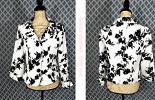 Woman's Fancy *EMMA JAMES*  White & Black Floral Print Career Blazer Size 8