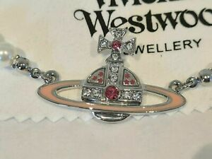 Vivienne Westwood pink Orb Pearl Necklace new with Box and card