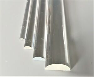 """Acrylic Plastic Clear Dome Half Round Rod Bar 1/4"""", 3/8"""", 1/2"""" & 1"""" 100 to 600mm"""