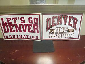 NCAA- DENVER PIONEERS-2 SIDED HOCKEY SIGN- USED