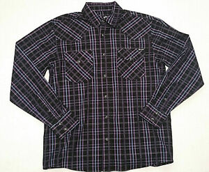 Wrangler Men's Size S Pearl Snap Button Up Purple Black Check Long Sleeve Shirt