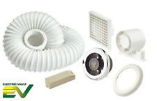 Ventilador Extractor Manrose Ducha Kit de Luz LED Blanco Temporizador/Cromo VSL 100 tcled